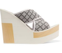Julia leather and woven canvas wedges