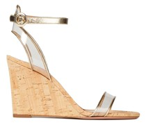 Metallic Leather And Pvc Wedge Sandals