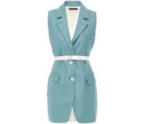 Belted Satin-paneled Silk And Wool-blend Vest