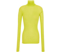 Neon Ribbed Cashmere Turtleneck Top
