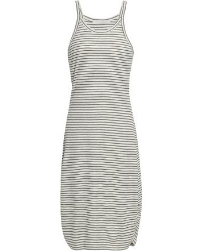 Trullie Ruched Striped Cotton-jersey Mini Dress Light Gray