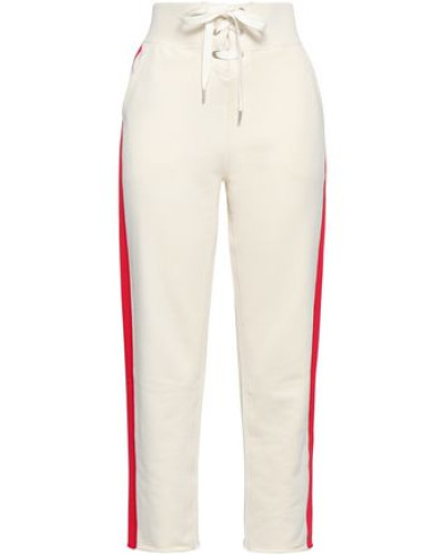 Striped French Cotton-terry Straight-leg Pants Ivory