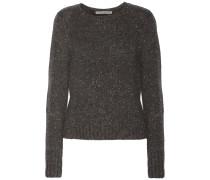 Leather-paneled Cashmere-bouclé Sweater Schiefer