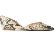 Rodney Snake-effect Leather Point-toe Flats