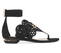 Laser-cut Suede Sandals Schwarz