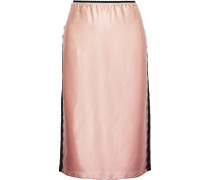 Lace-trimmed Dégradé Silk-charmeuse Skirt