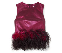 Dickinson Cropped Feather-trimmed Lamé Top