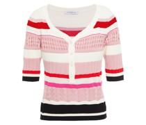 Oberteil aus Pointelle-strick aus Baumwolle mit Streifen