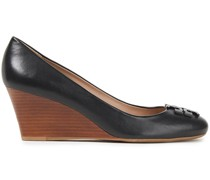Lowell Logo-appliquéd Leather Wedge Pumps