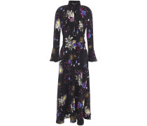 Woman Floral-print Satin Maxi Dress Black