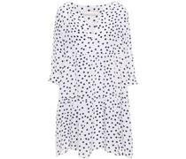 Gerafftes Strandkleid aus Crêpe De Chine aus Seide mit Polka-dots
