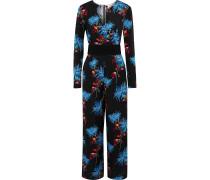 Belted Floral-print Silk Jumpsuit