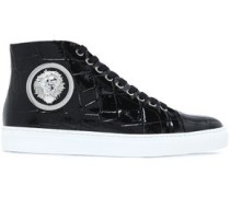 Embellished Croc-effect Patent-leather High-top Sneakers Black