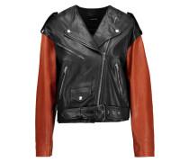 Audric Two-tone Asymmetric Leather Jacket Schwarz