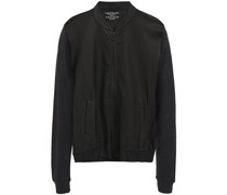 Perforated Leather-paneled Linen-jersey Bomber Jacket