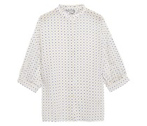Bluse aus Baumwolle mit Fil Coupé und Rüschenbesatz