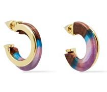 14 Kt. Vergoldete Ohrringe mit Holz und Harz