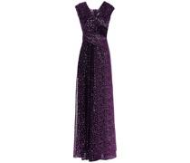 Drapierte Robe aus Plissiertem Jersey mit Metallic-effekt