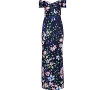 Off-the-shoulder Twist-front Floral-print Satin-piqué Gown