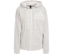 Printed Mélange Cotton-blend Jersey Hooded Sweatshirt
