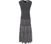 Pleated Striped Jacquard-knit Midi Dress