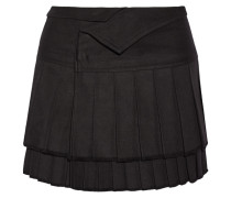 Kyler Tiered Cotton Mini Wrap Skirt Schwarz