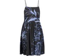 Pleated printed stretch-silk mini dress
