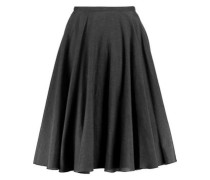 Pleated silk and cotton-blend skirt