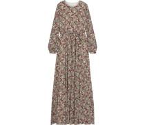 Belted Floral-print Crepe De Chine Maxi Dress