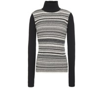 Camille Striped Ribbed-knit Turtleneck Sweater