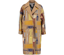 Embroidered Wool-blend Coat Beige
