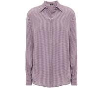 Klein Houndstooth Washed-silk Shirt