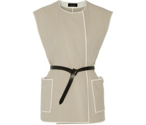 Magali Belted Cotton Gilet Ecru