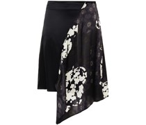 Draped Printed And Silk-satin Mini Skirt