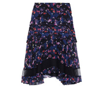 Ruffled Floral-print Crinkled Silk-chiffon Skirt