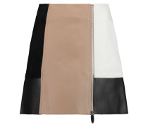 Color-block Suede And Leather Mini Skirt Sand
