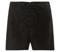 The Mabel Lace-up Suede Shorts Schwarz