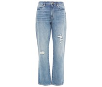 Le Hollywood Straight Distressed High-rise Straight-leg Jeans