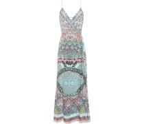 Crystal-embellished Printed Silk Crepe De Chine Maxi Wrap Dress