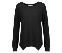 Waffle-knit Stretch Cotton And Modal-blend Pajama Top Schwarz