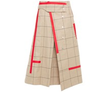 Pleated Checked Cotton-blend Twill Midi Wrap Skirt