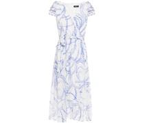 Asymmetric Wrap-effect Printed Crepon Midi Dress