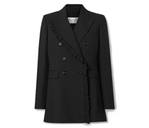 Ruffled Double-breasted Crepe Blazer