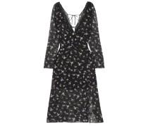 Rosmarino Lace-trimmed Floral-print Silk-chiffon Dress