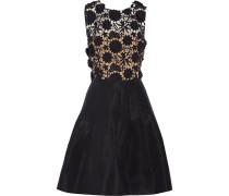 Pleated Guipure Lace Cotton And Silk Mini Dress Schwarz