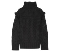 Aribella Fringed Cable-knit Wool And Cashmere-blend Turtleneck Sweater Schwarz