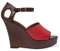 Cutout leather wedge sandals