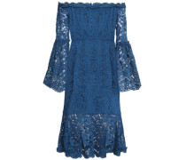 Off-the-shoulder Ruffled Cotton-blend Corded Lace Dress Petrol