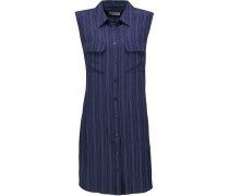 Striped Washed-silk Mini Dress Navy