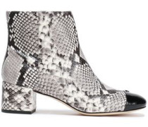 Snake-print And Patent-leather Ankle Boots Animal Print